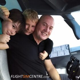 Happy family in 737 cockpit